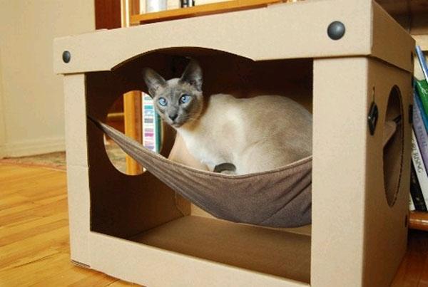 Домик для кошки из коробки своими руками видео
