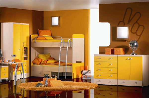 Оранжевая детская комната фото