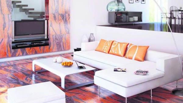Минималистский интерьер гостиной: сила огня и земли