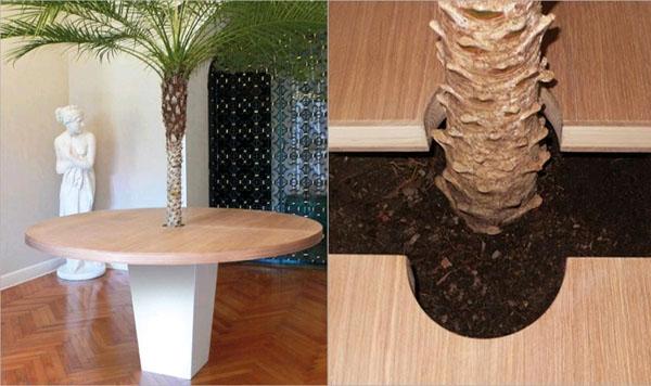 Стол с горшком для растений