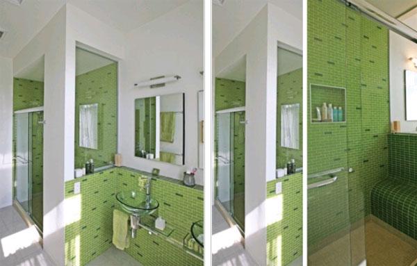 Весенняя ванная комната в зеленом