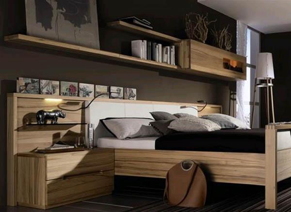 Полки над кроватью: изящно и удобно