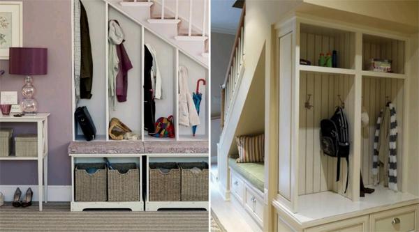 Шкаф под лестницей – практичное решение