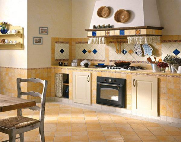 Напольная керамическая плитка на кухне